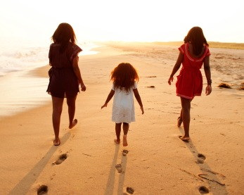 Walk together towards the sunset